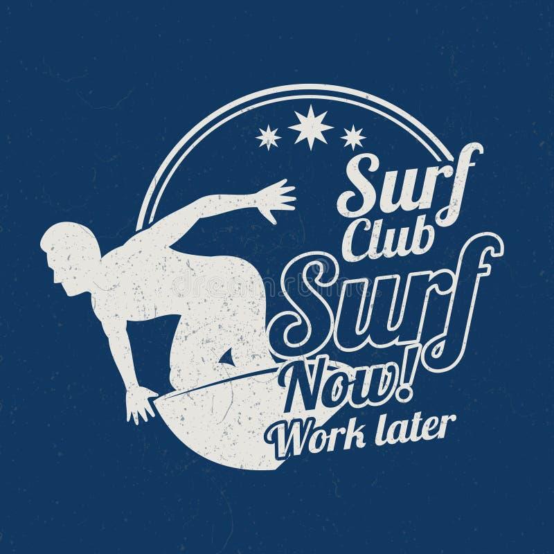 Os esportes surfando do verão do vintage do Grunge vector o bakground com surfista ilustração stock