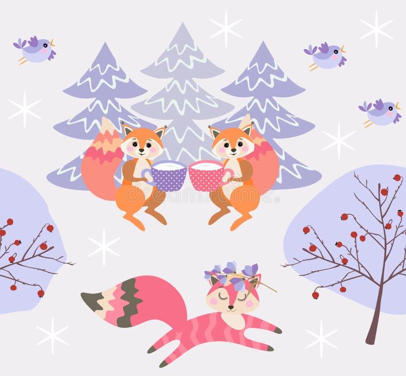 Os esquilos bebem o leite dos copos Corridas sonhadoras bonitos da raposa através do teste padrão sem emenda maravilhoso do Nat ilustração stock