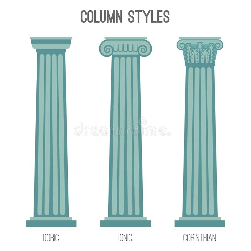 Os estilos altos antigos da coluna isolaram as ilustrações dos desenhos animados ajustadas ilustração royalty free