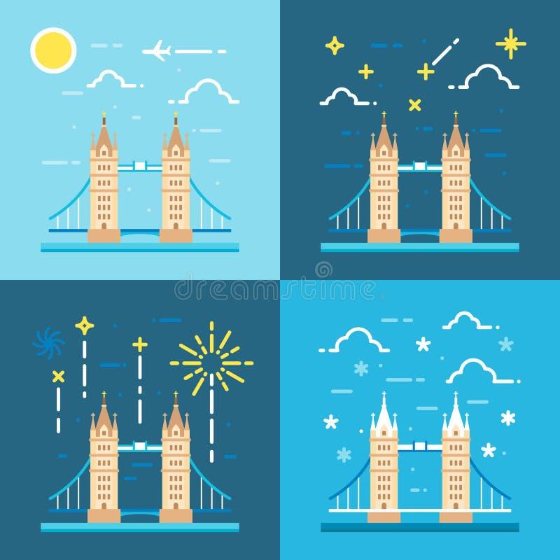 Os estilos lisos do projeto 4 da torre constroem uma ponte sobre o Reino Unido ilustração do vetor