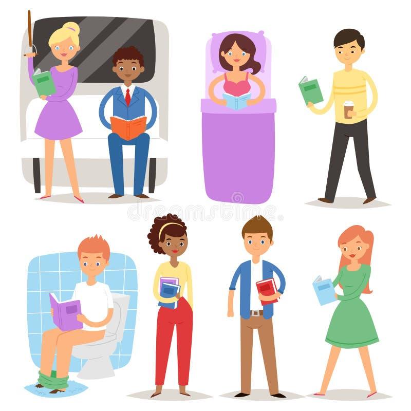 Os estudantes dos livros de leitura dos povos dos desenhos animados e a educação de caráteres adulta vector a ilustração ilustração stock