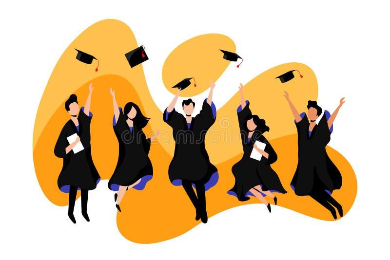 Os estudantes graduam-se da universidade ou da faculdade Ilustra??o lisa do vetor Exames, educa??o e conceito da gradua? ilustração royalty free