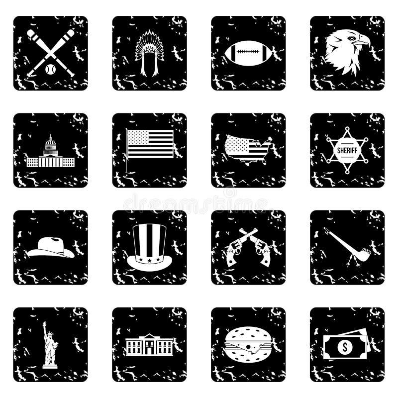 Os EUA ajustaram ícones, estilo do grunge ilustração do vetor