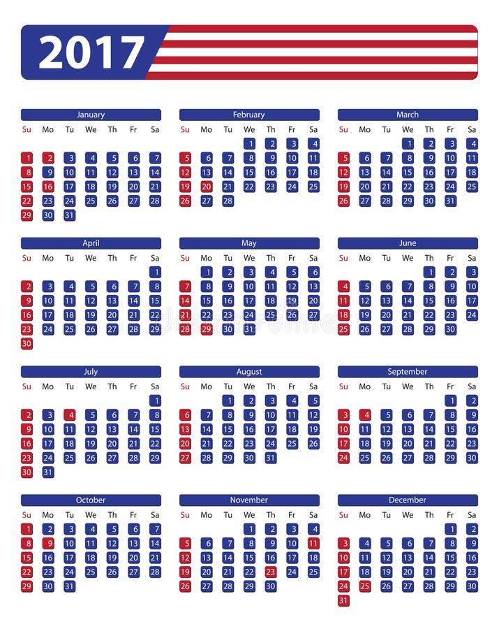 Os EUA calendar 2017 com feriados oficiais ilustração stock