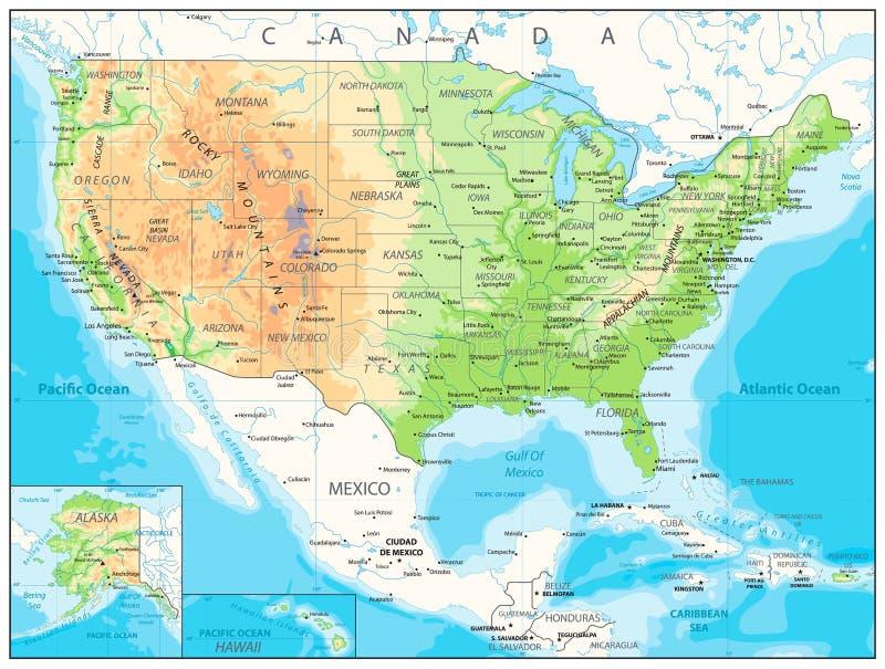 Os EUA detalharam o mapa físico ilustração royalty free