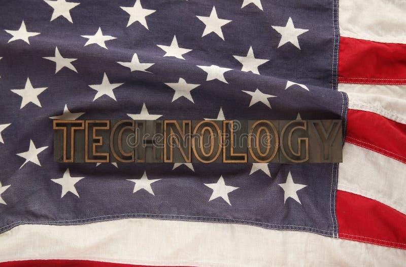 Os EUA embandeiram com a tecnologia da palavra fotografia de stock