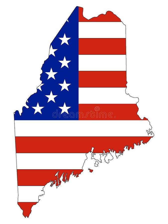 Os EUA embandeiram combinado com o mapa do estado dos E.U. de Maine federal ilustração do vetor