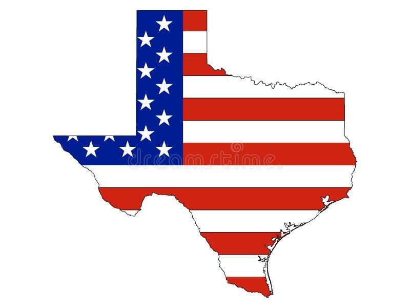 Os EUA embandeiram combinado com o mapa do estado do Texas federal dos E.U. ilustração royalty free