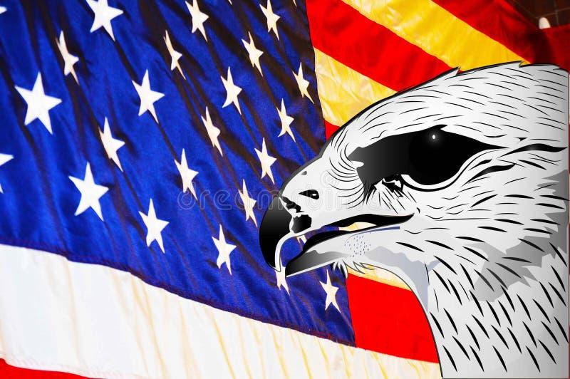 Os EUA embandeiram e a ilustração do fundo do símbolo da águia ilustração stock