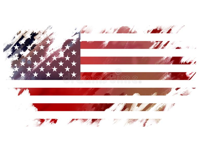 Os EUA embandeiram em cursos do brushe da cor de água fotografia de stock