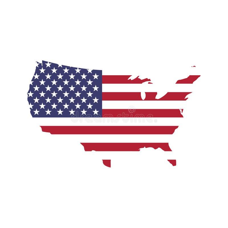 Os EUA embandeiram em uma forma da silhueta do mapa dos E.U. Símbolo do Estados Unidos da América Ilustração do vetor EPS10 ilustração do vetor