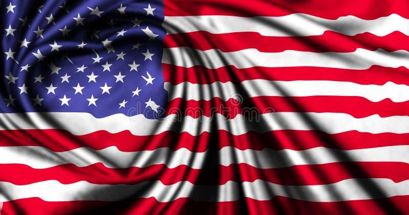 Os EUA embandeiram feito da tela de seda com forma do coração fotos de stock royalty free