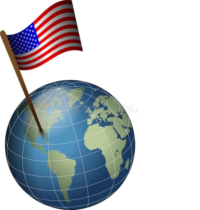 Os EUA embandeiram no globo ilustração royalty free