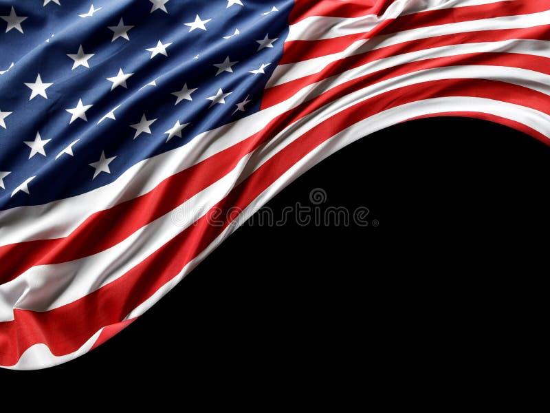 Os EUA embandeiram no preto foto de stock