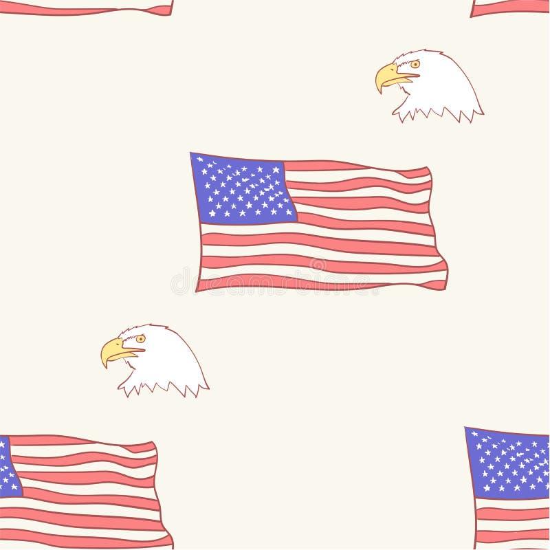Os EUA embandeiram o teste padrão americano calvo da mascote da águia, sem emenda, telha, ilustrações tiradas mão do estilo do íc ilustração stock