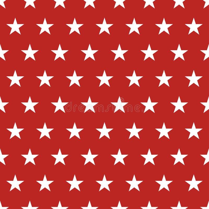 Os EUA embandeiram o teste padrão sem emenda Estrelas brancas em um fundo vermelho Memorial Day ilustração stock