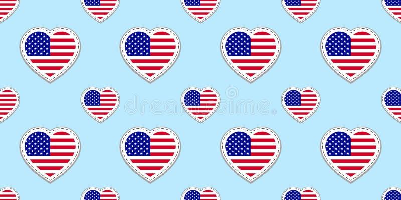 Os EUA embandeiram o teste padrão sem emenda Vector os stikers das bandeiras do Estados Unidos da América Símbolos dos corações d ilustração stock
