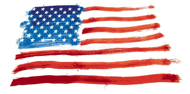 Os EUA embandeiram pintado ilustração stock