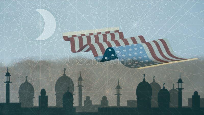 Os EUA embandeiram representado como o tapete mágico que voa sobre a arquitetura da cidade islâmica ilustração stock