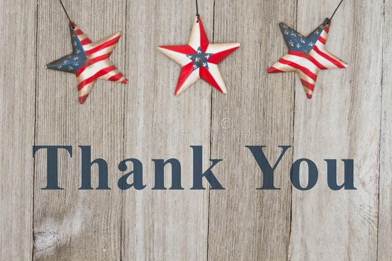 Os EUA patrióticos agradecem-lhe mensagem fotos de stock royalty free