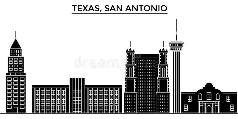 Os EUA, skyline da cidade do vetor da arquitetura de Texas San Antonio, arquitetura da cidade do curso com marcos, construções, i ilustração do vetor