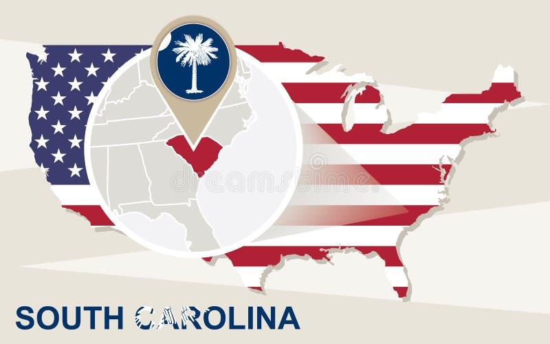 Os EUA traçam com Carolina State sul ampliada Bandeira de South Carolina ilustração stock