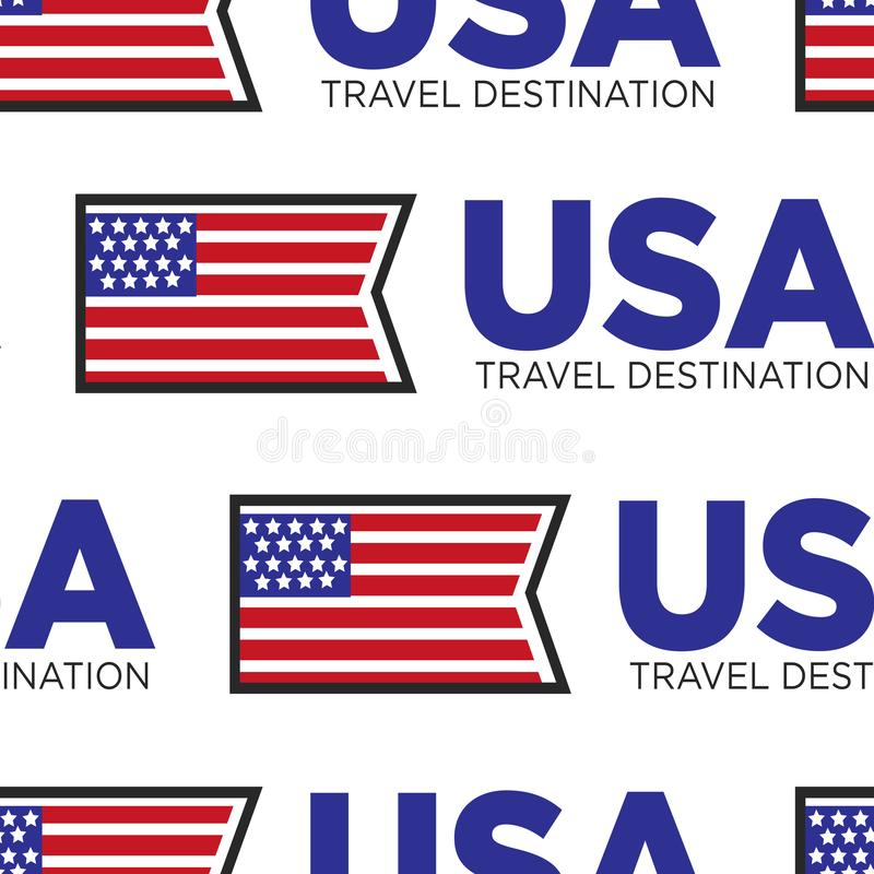 Os EUA viajam teste padrão sem emenda da bandeira nacional do destino ilustração do vetor