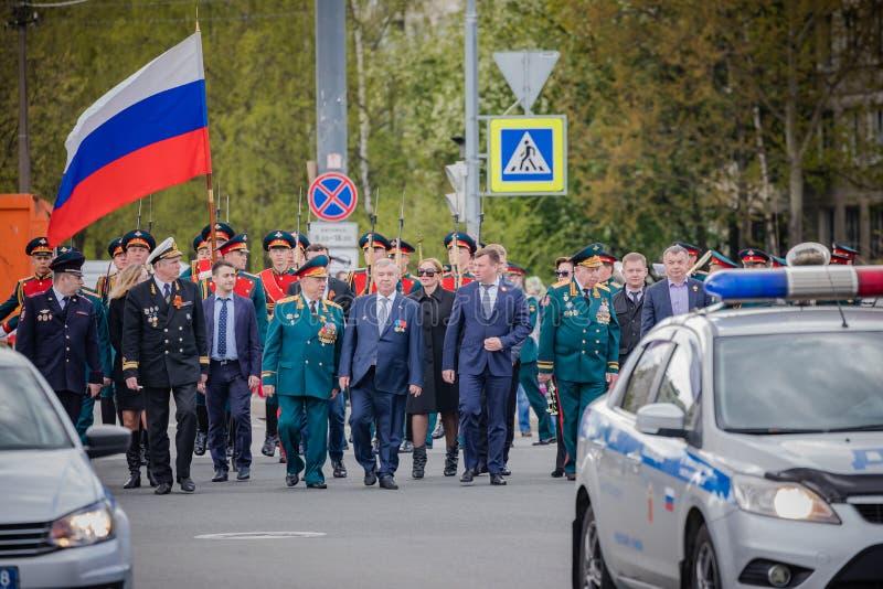 Os eventos festivos podem sobre 8, 2019 no distrito de Nevsky de St Petersburg, Rússia imagens de stock