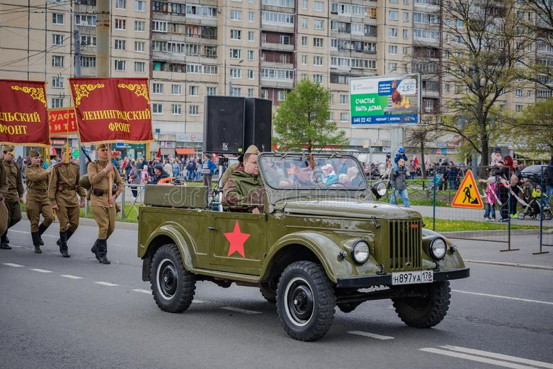 Os eventos festivos podem sobre 8, 2019 no distrito de Nevsky de St Petersburg, R?ssia fotos de stock royalty free