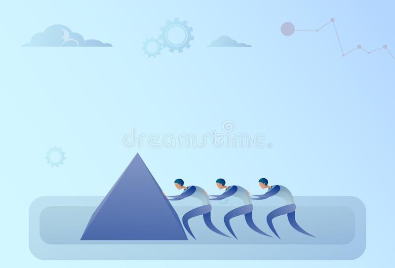 Os executivos agrupam a empurrão do conceito da cooperação dos trabalhos de equipa da pedra junto ilustração do vetor