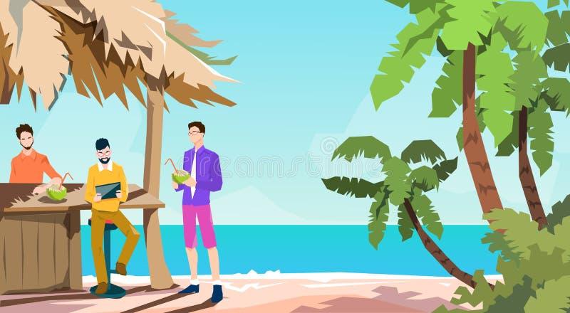 Os executivos agrupam a ilha tropical das férias de verão de Using Tablet Beach do homem de negócios da barra ilustração do vetor
