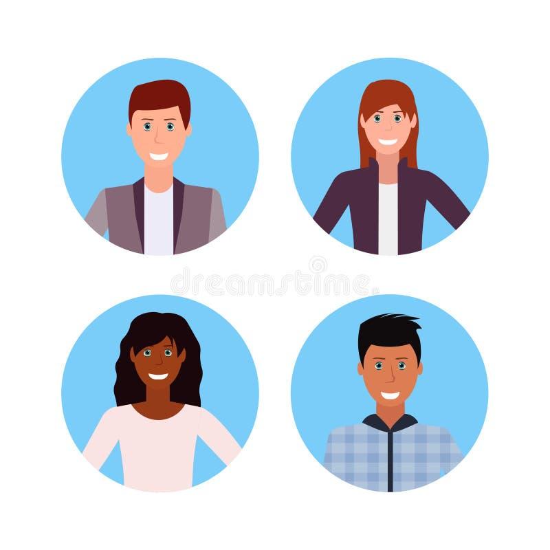 Os executivos ajustados enfrentam o personagem de banda desenhada fêmea masculino feliz dos trabalhadores de escritório do homem  ilustração royalty free