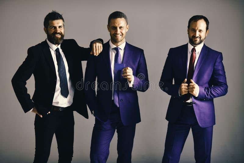 Os executivos anunciam a empresa e a parceria na luz - fundo cinzento Os homens de negócios vestem ternos e laços espertos Negóci imagem de stock