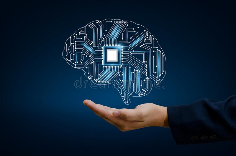 Os executivos da mão do AI pressionam o telefone Brain Graphic Binary Blue Technology ilustração do vetor