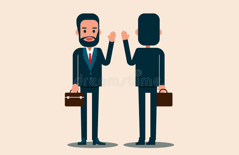 Os executivos do vetor cumprimentam Conceito do negócio do sócio fotografia de stock