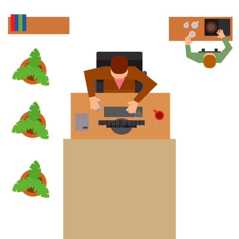Os executivos do vetor das tabelas do escritório do local de trabalho team a opinião de tampo da mesa moderna do trabalhador da W ilustração stock