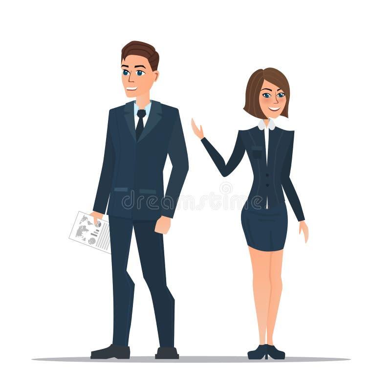Os executivos dos pares em ternos de negócio estão estando ilustração stock