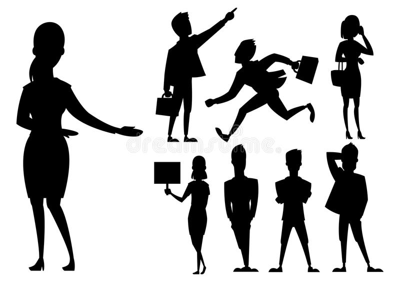 Os executivos equipam e o comprimento completo da silhueta preta da mulher do vetor profissional dos caráteres da comunidade do r ilustração royalty free