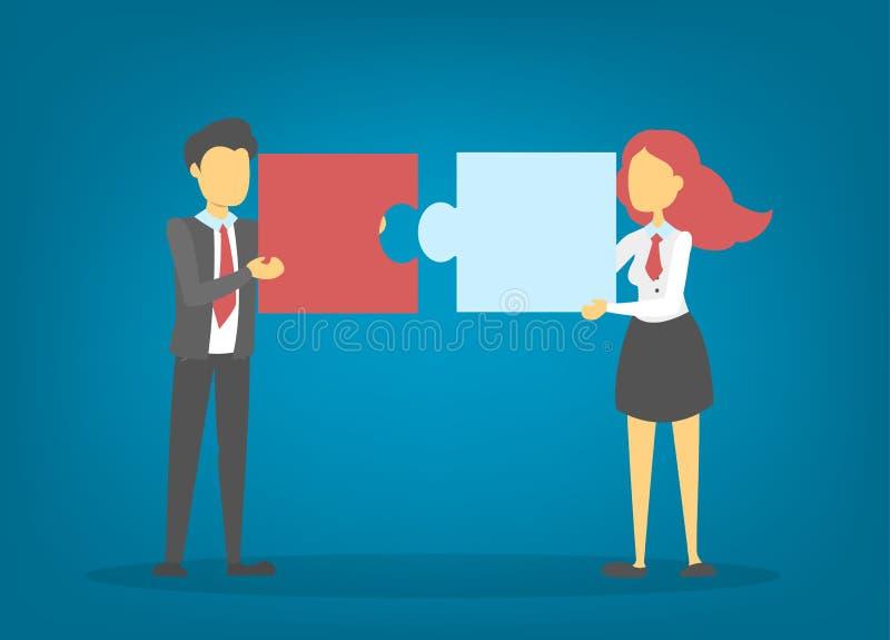 Os executivos guardam a parte do enigma Trabalhos de equipa e parceria ilustração royalty free