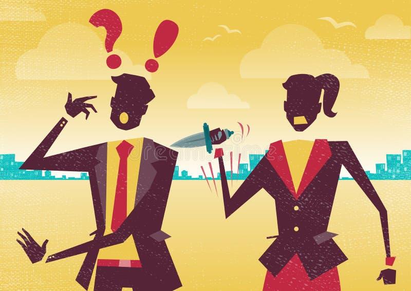 Os executivos jogam os dados da fortuna do negócio ilustração stock