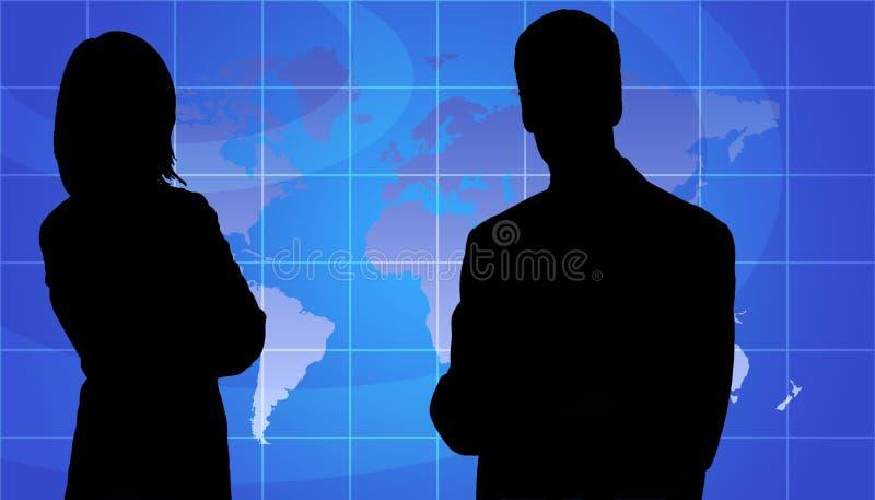 Os executivos mostram em silhueta, fundo do mapa de mundo imagens de stock