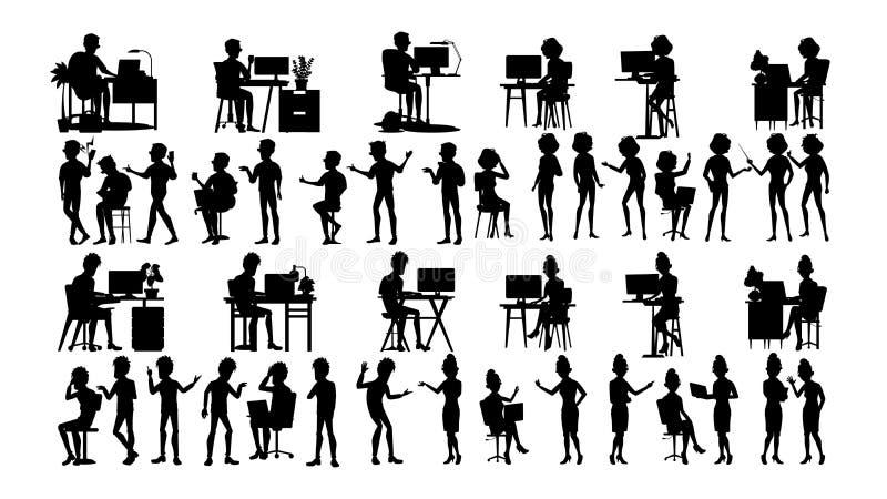 Os executivos mostram em silhueta vetor ajustado Homem, mulher Esboço do grupo Forma da pessoa Equipe profissional -- Molde B do  ilustração do vetor