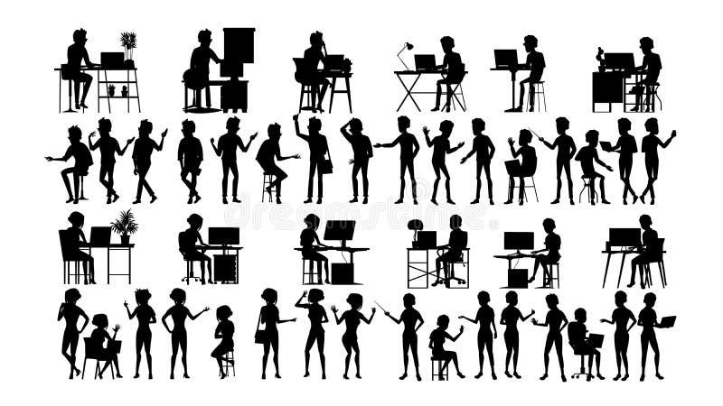 Os executivos mostram em silhueta vetor ajustado Homem, mulher Esboço do grupo Forma da pessoa Equipe profissional -- Molde B do  ilustração stock