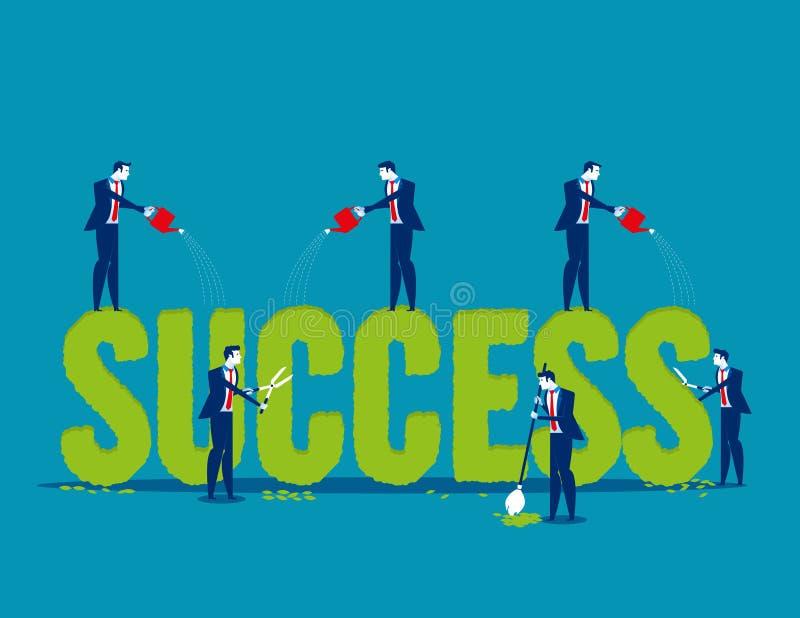 Os executivos plantam com cuidado a forma e molhar do sucesso da palavra Ilustra??o do vetor do neg?cio do conceito Estilo liso d ilustração stock