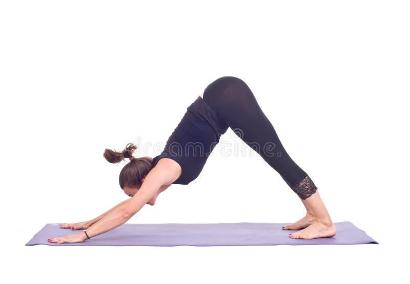 Os exercícios praticando da ioga/perseguem para baixo a pose - Adho Mukha Svanasana foto de stock