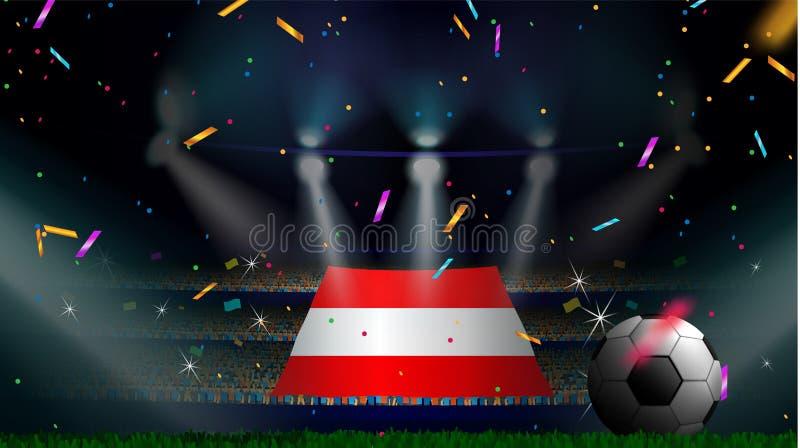 Os fãs guardam a bandeira de Áustria entre a silhueta da audiência da multidão no estádio de futebol com confetes para comemorar  ilustração do vetor