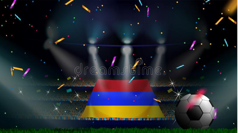 Os fãs guardam a bandeira de Armênia entre a silhueta da audiência da multidão no estádio de futebol com confetes para comemorar  ilustração stock