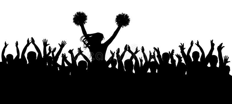 Os fãs que cheering junto com a silhueta do líder da claque multidão esporte Ilustração do vetor ilustração stock