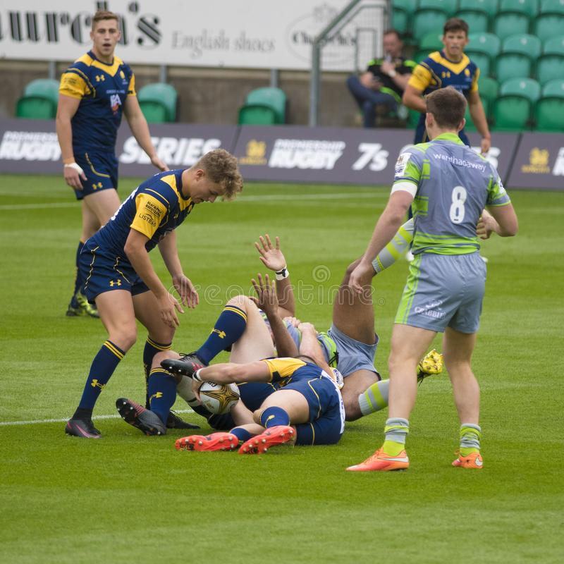 Os Falcons de Newcastle e o rugby 7 S dos guerreiros de Worcester imagem de stock royalty free