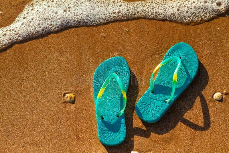Os falhanços de aleta das mulheres estão na praia na areia, conceito das férias foto de stock royalty free